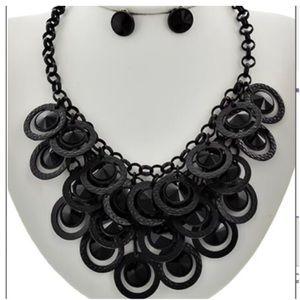 Jewelry - New- Hematite Black Glass Necklace Set