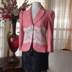 Robert Rodriguez Jackets & Blazers - Robert Rodriguez coral tweed lace blazer
