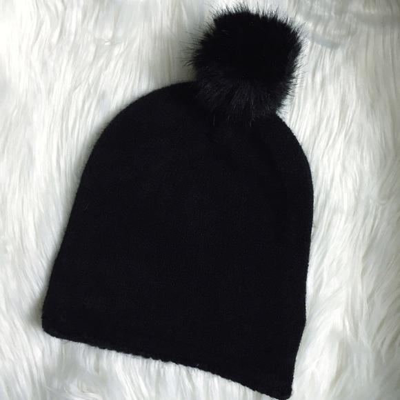 H M Faux Fur Pom Pom Black Beanie Hat 78c8942927f