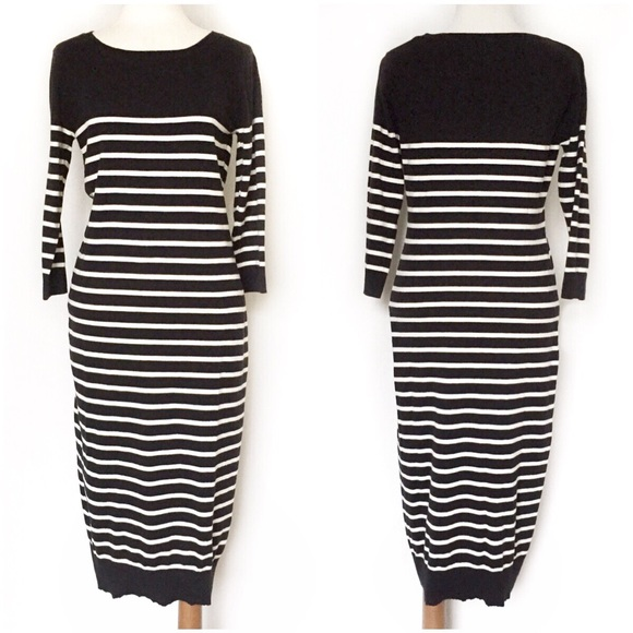 5d15cd5881 Old Navy Black   White Striped Sweater Dress. M 585d91897fab3a0bc50135cd