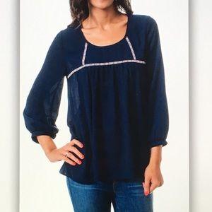 Blue longsleeve semi sheer embroidered blouse