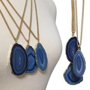 fairlygirly Jewelry - Gold Edge Denim Blue Boho Agate Pendant Necklace