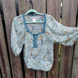 Moon Collection Tops - Floral & Bird Print Peasant blouse