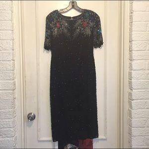 Vintage Black Silver Sequin Floral Beaded Dress M