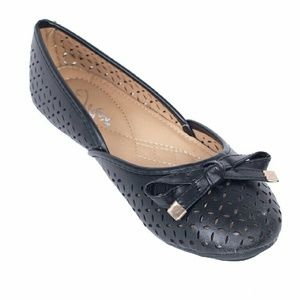 Tory Klein  Shoes - Women Ballerina Flats with Bow, b-1612, Black