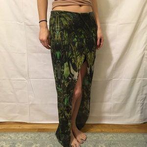 Helmut Lang Dresses & Skirts - Helmet Lang Green Printed Asymmetrical Skirt