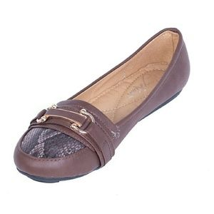 Women Ballet Buckle Flats, b-1613, Brown
