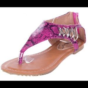 Victoria K Shoes - Victoria K Zip Back Pink Thong Laced Sandals S1973