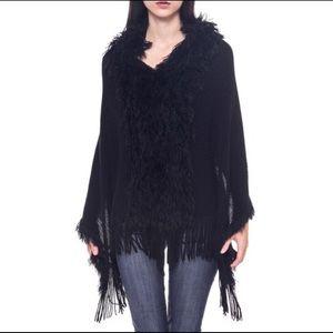 Bellino Clothing Sweaters - Bellino Fluffy Panel Poncho (Black)