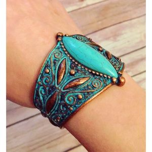 Faux Turquoise and Copper Filigree Cuff