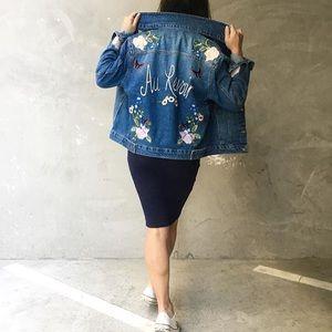 Jackets & Blazers - Au Revoir Embroidered Denim Jacket