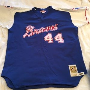Mitchell & Ness Other - Auth Mitchell & Ness Hank Aaron Braves Throwback