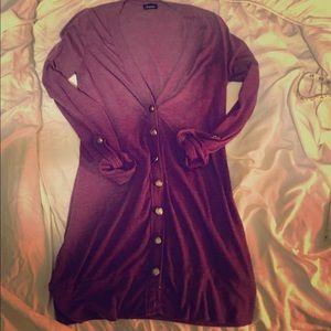 Ariella Sweaters - Plum Lightweight Button-Down Sweater
