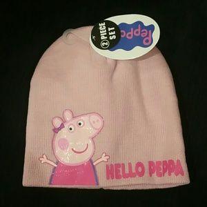 Peppa Pig Other - Pink girls peppa pig hat gloves set