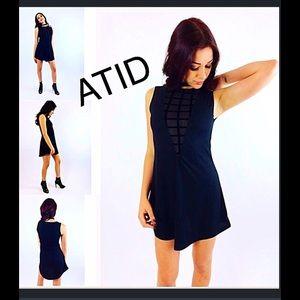 Atid Clothing Dresses & Skirts - Atid Lucia Deep V Contrast Mini Dress