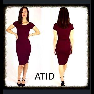 Atid Clothing Dresses & Skirts - Atid Basic Tee Dress in Burgundy