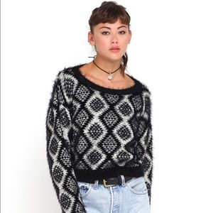 Motel Rocks Tops - Fuzzy Crop Sweater Aztec motel rocks black tan top