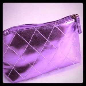 Clinique Handbags - CLINIQUE New Metallic Purple Zippered Pouch