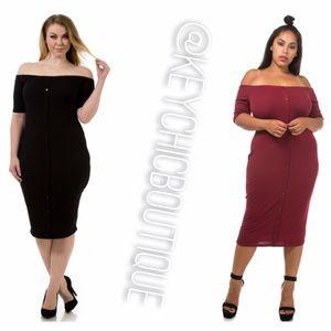 Black sexy plus size off the shoulder midi dress