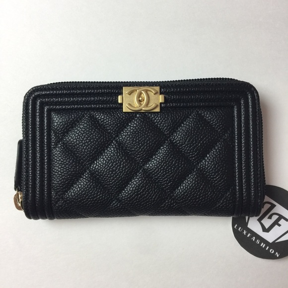 f122dfe7ff4d CHANEL Bags | Nwt Boy Zip Wallet In Black Caviar Gold Hw | Poshmark
