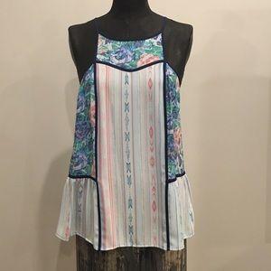 BCBG Silk halter mixed print blouse
