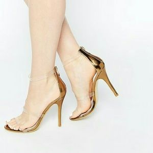 Clear Strap Bronze Barely There High Heels