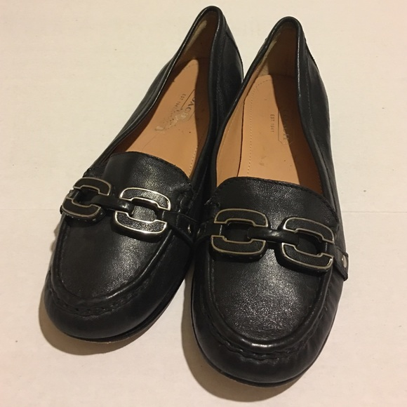 f0019296dd7 order coach black leather ella flats shoes sz 6.5 f9cab 10a52