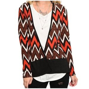CupofTea Tops - 🔺CLEARANCE🔺Chevron open front wrap top