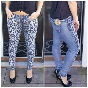 CupofTea Denim - 🔺CLEARANCE🔺Sequin cheetah front skinny jeans