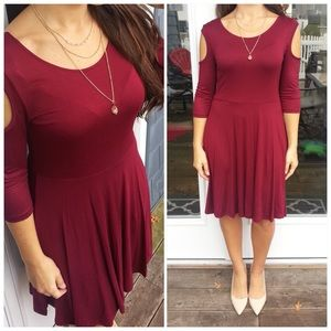 CupofTea Dresses & Skirts - Wine cold shoulder dress