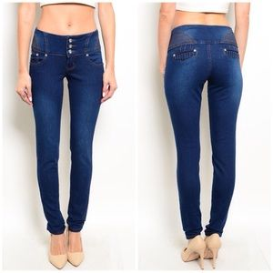 CupofTea Denim - 🔺CLEARANCE🔺Dark rhinestone button skinny jeans