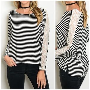 CupofTea Tops - 🔺CLEARANCE🔺Black & White striped lace trim top