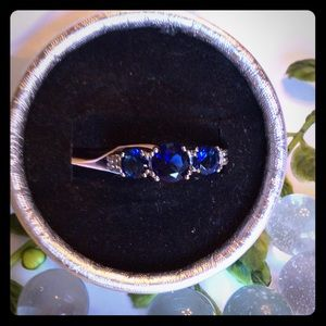 Jewelry - 🏆HP🏆Three Stone Sapphire Ring FINAL SALE