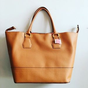 NWT Cognac & Red Faux Leather Tote Bag