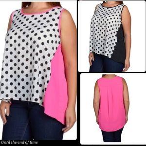 Tops - Plus size polka dot print top