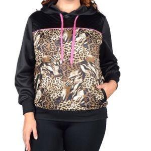 Jackets & Blazers - Plus size Animal print Hoodie jacket