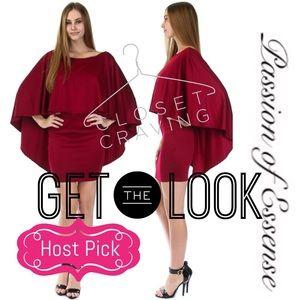 Passion of Essense Dresses & Skirts - 💝 Host Pick Solid Red Poncho Mini Dress
