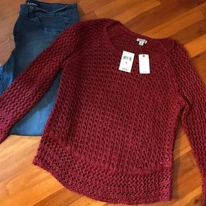 NWT! Deep red lucky brand sweater