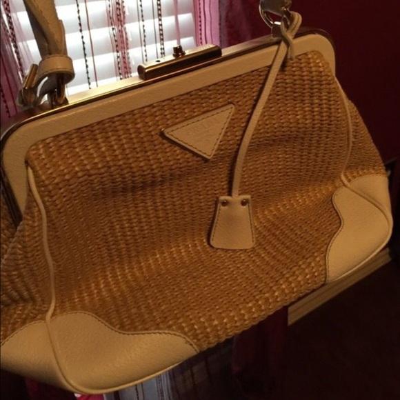 1bd59f4da6b343 Authentic Vintage Prada Wicker and leather handbag.  M_585ead4f713fde8ab0008cb1