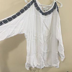 Soft White & Navy Blue Peekaboo Sleeve Shirt