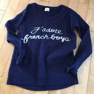 """J'Adore French Boys"" Navy Blue Crewneck Sweater"