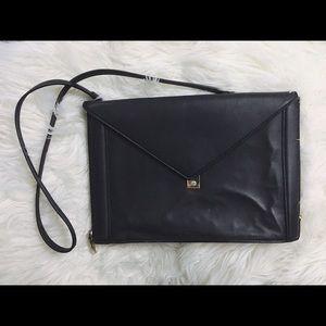 Zara black envelope clutch with gold hardware