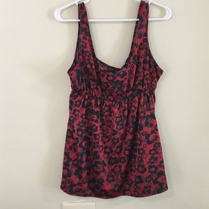 Red & Black Patterned Dressy Tank Top