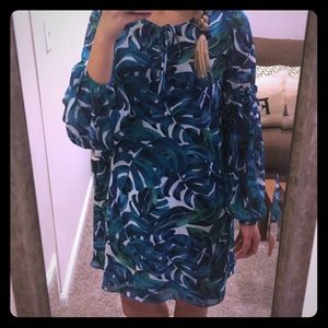NWT anthropologie palm print long sleeve dress