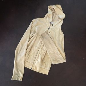 blue Chic golden tan velour hoodie, size Med