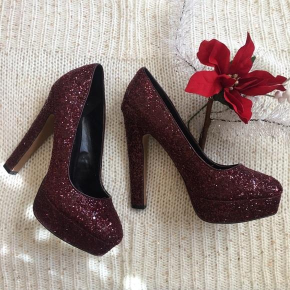 Aldo Shoes | Burgundy Glitter Pumps