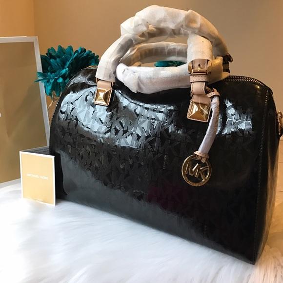 a9891dc38593df Michael Kors Bags | Grayson Satchel Mirror Black | Poshmark