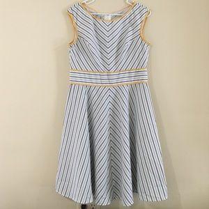 Gray & White Striped A-Line Dress