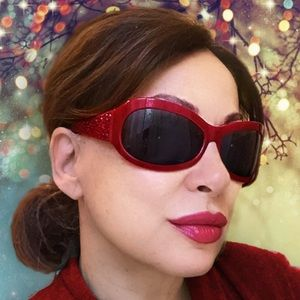 judith Leiber Accessories - Judith Leiber ruby red sunglasses AUTHENTIC!