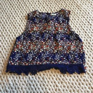 Multicolored, flowers crop top blouse